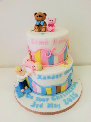Brother and Sister tiered Christening Cake - Rossendale