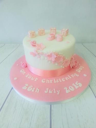 Baby Bricks, Bootees and Flowers Christening Cake - Rossendale