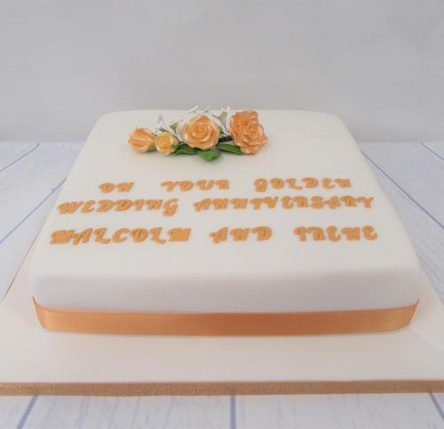 Golden Wedding Anniversary Cake with flowers - Rossendale