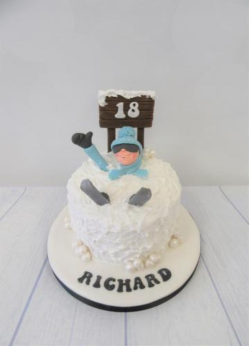 Skier in the snow Birthday Cake - Rossendale