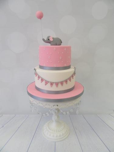 Elephant with Balloon and Bunting tiered Christening Cake - Rossendale