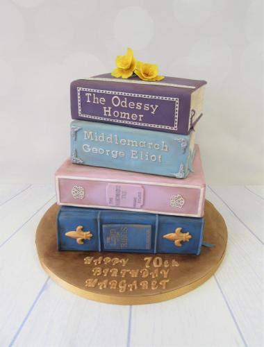 Stacked Reading Books tiered Birthday Cake - Rossendale