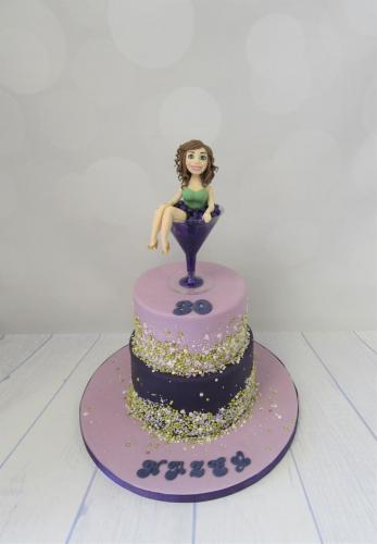 Lady in Cocktail Glass tiered Birthday Cake - Rossendale