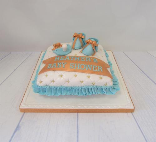 Blue and Gold Baby shower Cushion Cake.