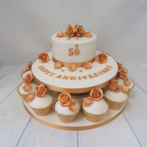 50th Golden Wedding Anniversary Cake with cupcakes - Rossendale
