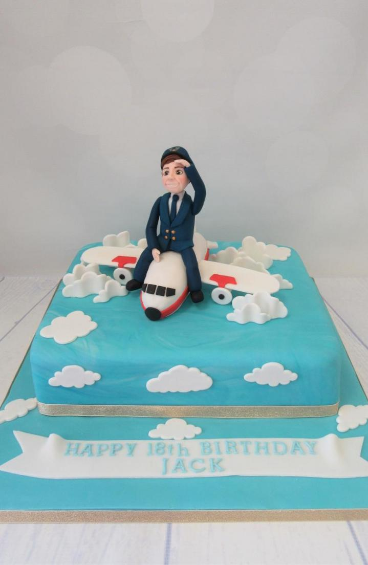 Pilot on Aeroplane Birthday Cake - Rossendale