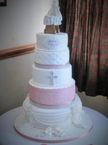5 Tier Swag, Lace and Pearl Christening Cake - Rossendale