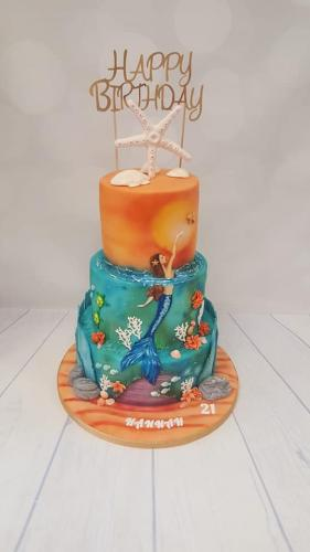 Hand Painted Elegant Mermaid tiered Cake.