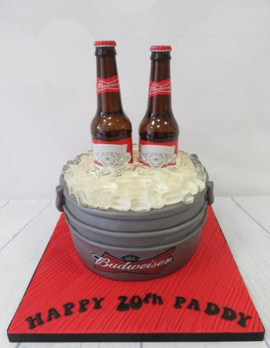 Budweiser Beer Bottles in Ice Bucket Birthday Cake.