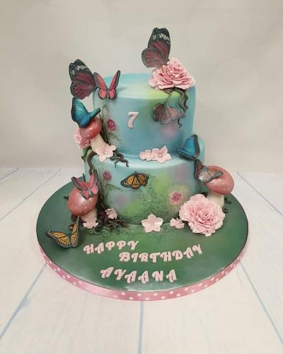 Butterfly tiered Birthday Cake.