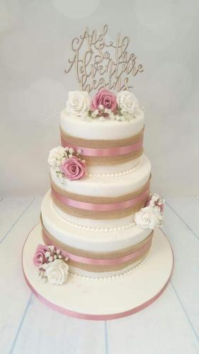 Rustic Rose round tiered Wedding Cake