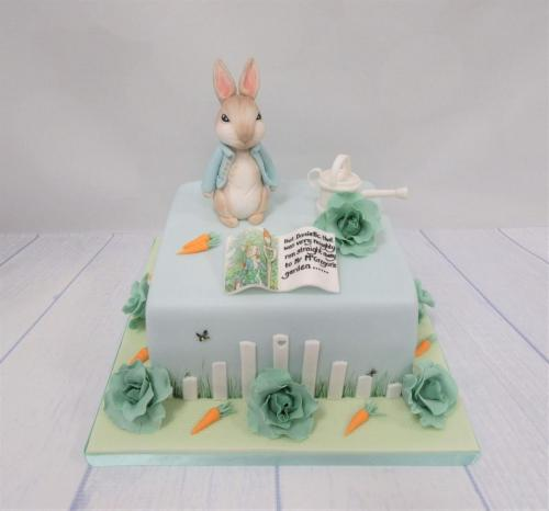 Traditional Style Peter Rabbit Baby Shower Cake.