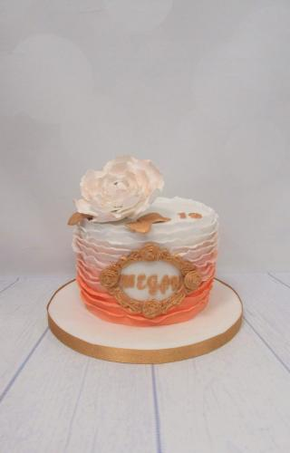 Rose and Ombre Ruffles Birthday Cake.