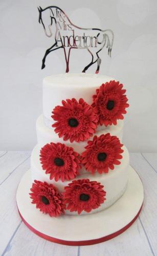 Horse and Gerbera tiered Wedding Cake.