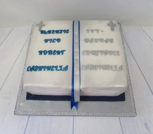 Brother and Sister Book Christening Cake.