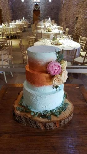Rustic Blue and Rose Gold tiered Wedding Cake.