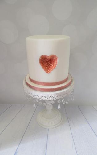 Double barrel Love heart crystal Geode style Wedding Cake.